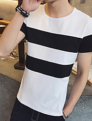 Great summer new black and white striped short-sleeved T-shirt M Cafe