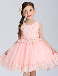 Ball Gown Short / Mini Flower Girl Dress - Cotton Satin Tulle Sleeveless Jewel withBow(s) Embroidery Pearl Detailing Ruffles Sash /