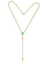 Women's Pendant Necklaces Circle Chrome Basic Light Blue Jewelry For Birthday Thank You 1pc
