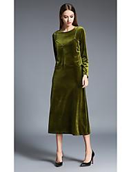signe -2016 Hitz femmes européennes et américaines&# 39; robe harnais velours robe à manches longues les femmes en deux parties