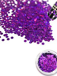 1 Bottle Fashion Romantic Dark Purple Laser Glitter Stripe Round Paillette Beautiful Nail DIY Glitter Decoration Nail Beauty Shiny  Thin Slice TW14