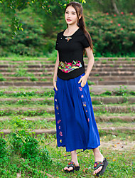 Original design 2016 summer new national wind embroidered culottes