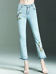 NEDO Women's Mid Rise Inelastic Jeans PantsSimple Street chic Slim Embroidered Solid