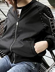 Signer les vêtements de printemps de baseball féminin étudiante coréenne chemise courte lourde perlée en cuir bordé en cuir de baseball