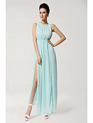 Evergreen primavera e verão sexy split vestido elegante chiffon rendas colarinho vestido