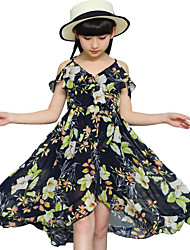 Girl's Casual/Daily Beach Holiday Floral Dress,Polyester Summer Sleeveless