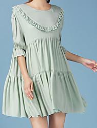 petite jupe lâche vert frais de la taille longiligne importante robe manches robe de poupée d'oreille en bois
