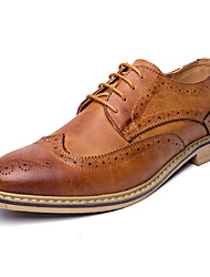Men's Oxfords Spring Fall Formal Shoes Comfort Bullock shoes Leather Wedding Outdoor Office & Career Party & Evening Casual Lace-up Flower