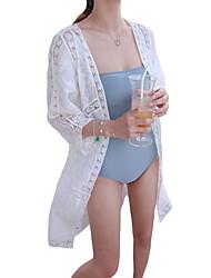 Women's Off White Open Front Lace Kimono