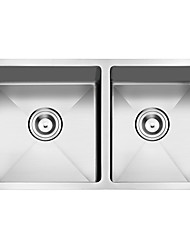 Handcrafted Stainless Steel 33 inches Undermount Double Bowls  Kitchen Sink double bowls