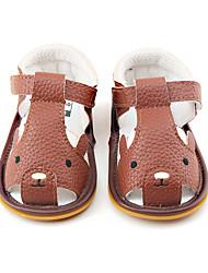 Kids' Baby Sandals First Walkers Flower Girl Shoes PU Summer Casual Dress First Walkers Flower Girl Shoes Animal Print Flat Heel Brown