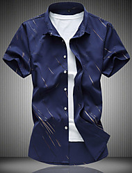 Men's Casual/Daily Simple Summer Shirt,Print Classic Collar Short Sleeves Cotton