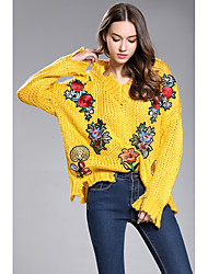 Women's Housewarming Daily Christmas Family Gathering Casual/Daily Cute Regular Pullover,Florals V-neck Long Sleeves N/A Spring Fall