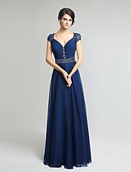 Gaine / colonne mère de la robe de mariée manches courtes à manches courtes en mousseline de soie