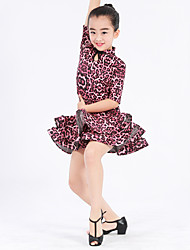Latin Dance Dresses Kid's Performance Spandex Milk Fiber Buttons Flower(s) Pattern/Print Ruffles Leopard 1 Piece Short Sleeve Natural