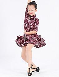 Latin Dance Dresses Kid's Performance Spandex Milk Fiber Ruffles Buttons Flower(s) Pattern/Print Leopard 1 Piece Short Sleeve Natural