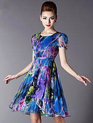 Silk print dress round neck short-sleeved silk dress 2015 summer female high