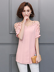 Sign spring and summer Lace cotton short-sleeved shirt Girls long section of large size women