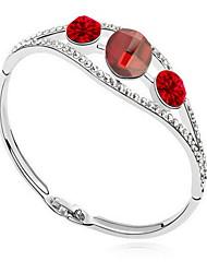 Mulheres Bracelete Jóias Amizade Moda Cristal Liga Forma Geométrica Branco Vermelho Verde Jóias Para Festa Aniversário 1peça