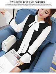 Signer corde coréenne manches en mousseline de soie v-cou manches longues robe 2017 nouvelles femmes une jupe mot