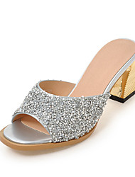 Women's Slippers & Flip-Flops Summer Fall Slingback Synthetic Office & Career Party & Evening Dress Chunky Heel Sequin