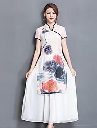 La nouvelle robe de soie chinoise à grande taille, les filles longues et minces étaient plus minces, plus la robe cheongsam nanao dai