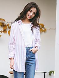 versão coreana verdadeiro tiro da pequena camisa limpa nova primavera solta grande tamanho vertical listrado