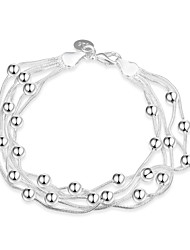 Sweet Silver plated Five-line Bead Strand Chain & Link Bracelets for Wedding Party Women Christmas Gifts