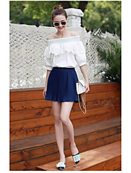 Ebay aliexpress europa und das neue wort schulter spitze flounced short-sleeved shirt