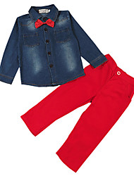 Fashion Children's Bow Tie Fashion Long Sleeved Denim Shirt  Pants Casual Clothing Kids Set Boy Spring / Autumn Suit