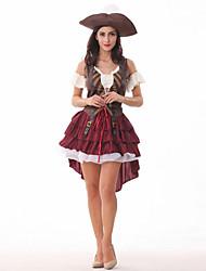 Costumes de Cosplay Pirate Fête / Célébration Déguisement d'Halloween Couleur Pleine Robe Fabrication CAP Halloween Carnaval Le Jour des