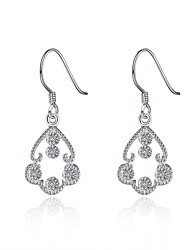 Concise Silver Plated Clear Crystal Hollow Flower Drop Earrings for Party Women Jewelry Accessiories
