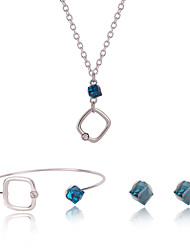 Women Wedding Silver Gifts Bridal Blue Square Crystal Pendant Necklace Earrings Bracelet Of Clavicle Chain 3pcs