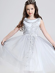 Ball Gown Tea-length Flower Girl Dress - Cotton Satin Tulle Jewel with Appliques
