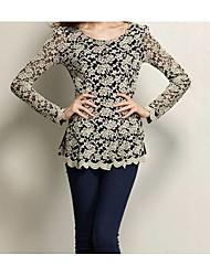 2016ebay AliExpress street Autumn lace long-sleeved T-shirt Slim bottoming shirt openwork lace shirt