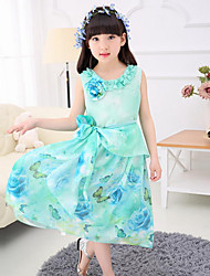 Girl's Beach Floral Dress,Polyester Summer Sleeveless