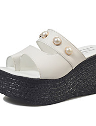 Women's Sandals Summer Mary Jane Leatherette Outdoor Casual Wedge Heel Imitation Pearl Walking