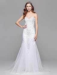 LAN TING BRIDE Sheath / Column Wedding Dress Simply Sublime Floor-length Sweetheart Tulle with Beading