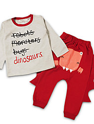 Boys' Casual/Daily Holiday School Animal Print Sets,Cotton Fall Long Sleeve Clothing Set