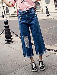 Джинсовая широкая нога брюки женская талия большие ярды потерять девять очков джинсы брюки прилива заусенка дыра седьмой прямой