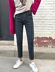 Sign Nett ~ Korean version of the retro loose waist was thin white line stitching design black and gray jeans