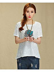 Damen Solide Einfach Lässig/Alltäglich T-shirt,Rundhalsausschnitt Kurzarm Seide