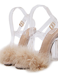 Women's Sandals Summer Fall Club Shoes Comfort Novelty PVC Wedding Outdoor Party & Evening Dress Casual Crystal HeelFeather Buckle