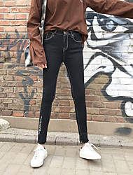 Zeichen Frühling neue schwarze Jeans weibliche Füße neun Punkte schlanke Hose Persönlichkeit Bleistift Hose Hose Grat