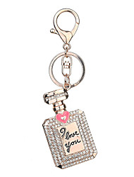 Key Chain Bottle Key Chain Red Pink Rose Metal