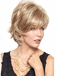 Women Short African Wig For White European Golden Synthetic Curly Wig