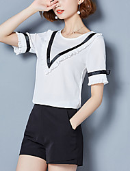 Women's Plus Size Going out Work Cute Street chic Summer Slim Blouse Patchwork Ruffle Bow Round Neck Short Sleeve Petal Sleeve Polyester Thin