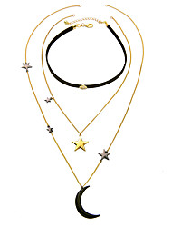 Women's Layered Necklaces Star Moon Chrome Euramerican Personalized Jewelry For Wedding Congratulations 1pc