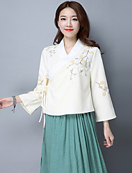 2017 spring models retro national wind embroidered lace Literary Chinese clothing cross collar long-sleeved shirt