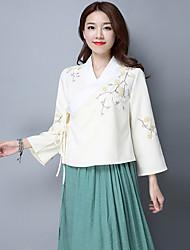 2017 modèles de printemps vêtements littéraire dentelle brodée rétro vent national chinois collier croix chemise à manches longues